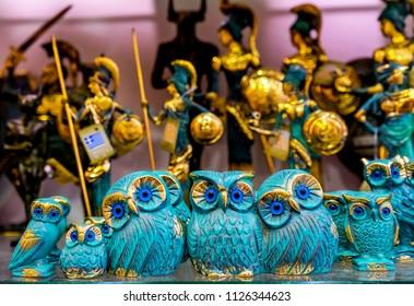 ATHENS, GREECE - MARCH 5, 2018 Greek Bronze Owls Symbol Athena Athens Greece.  Owls are symbol of Greek goddess, Athena, patron goddess of Athens.