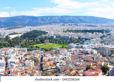 Athens, Greece; March 8 2015: View of the Olympian Zeus temple and the city of Athens from the top of the Acropolis hill, Athens, Greece.
