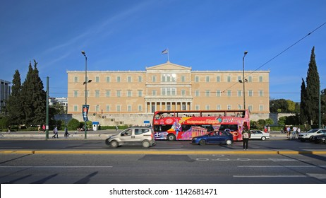 Athens, Greece - May 01, 2015: Sightseeing Bus in Front of Greek Parliament Building in Athens, Greece.