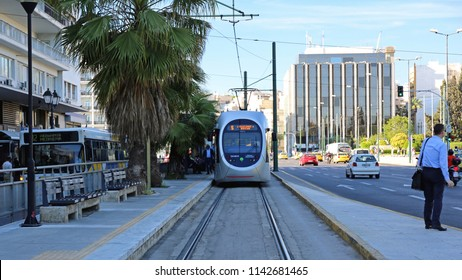 Athens, Greece - May 04:, 2015: Public Transport Tram at Station Near Hellenic Parliament in Athens, Greece.