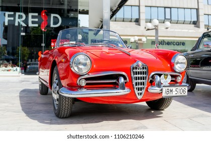 ATHENS, GREECE - MAY 1, 2018: Alfa Romeo Giulietta Spider of 1961 at the 2nd Spring Static Exhibition of Glyfada.