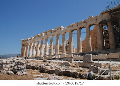 ATHENS, GREECE - MAY 13, 2016: The Parthenon temple at the Acropolis of Athens. The UNESCO World Heritage Site is one of the World's top tourist attractions.