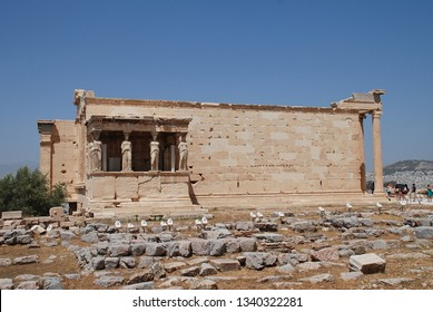 ATHENS, GREECE - MAY 13, 2016: An ancient temple at the Acropolis of Athens. The UNESCO World Heritage site is one of the World's top tourist attractions.