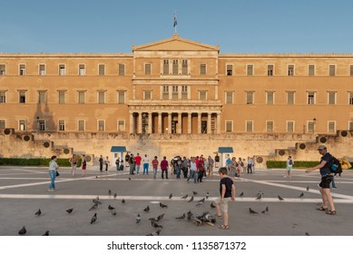 Athens, Greece - May 2, 2018. Building of Greek parliament in  Athens