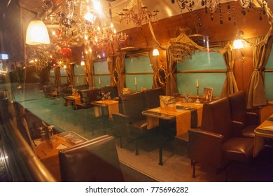 ATHENS - GREECE, MAY 2017: The Wagon Restaurant at Roof, Athens is a restored pre-war dining car, which is a restaurant. Guests can enjoy a meal in the authentic, romantic atmosphere of a bygone era.