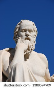 Athens, Greece / May 2018: The statue of Socrates at The Academy of Athens