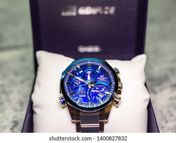 ATHENS, GREECE - MAY 2019: Close up view of a Casio watch Edifice watch EQB 501DB-2AR model. Part of the Bluetooth Solar powered Edifice series watches.