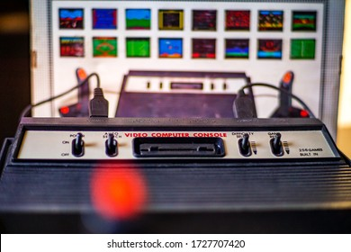 ATHENS, GREECE - MAY 2020: The historical Atari 2600 Video Computer System running at 1.19 MHz with 128 bytes rom. Video game console by Atari INC has become the status symbol of retro video gaming