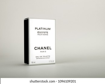 ATHENS, GREECE – MAY 22 2018: Chanel Egoiste Platinum perfume for men package box isolated on white background