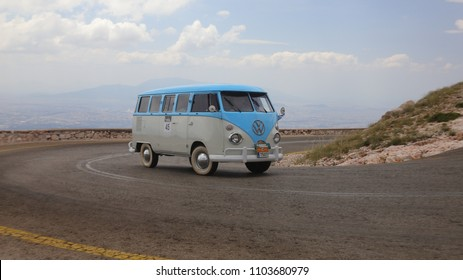ATHENS, GREECE, MAY 27, 2018. Classic car VW Type 2 (T1) Microbus, made in Brasil in 1975, during the classic climb of Mount Parnes, close to Athens, Greece.
