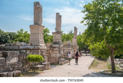 ATHENS, GREECE - MAY 27: The entrance to the Odeon of Agrippa at the ancient Agora on May 27, 2009 in Athens. The Agora was founded in the 6th century BC and is only partly excavated.