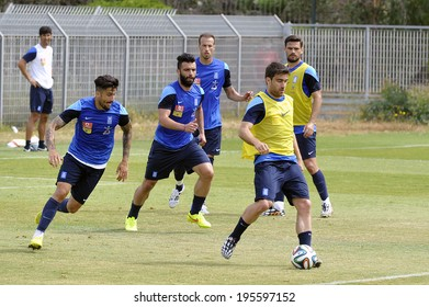 ATHENS GREECE MAY 29, 2014. The Greek football team, during the last training session in Athens before departure abroad for preparations ahead the World Cup 2014 in Brazil.