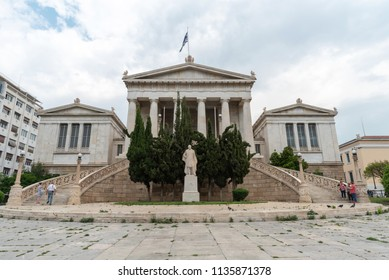 Athens, Greece - May 8, 2018. National Library in Athens - Greece