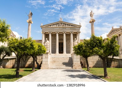 Athens, Greece. The modern building of the Academy of Athens, Greece's national academy and the highest research establishment in the country