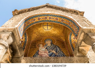 Athens, Greece. Mosaic of the Madonna and child at the south portico of the Church of Panagia Kapnikarea, a Greek Orthodox church
