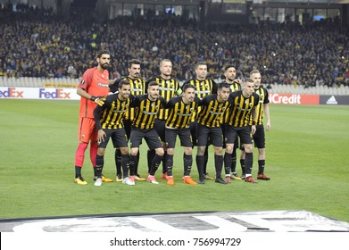 Athens, Greece - Nov. 11, 2017. The fooball team of AEK before the soccer match between  AEK FC and AC MILAN at the OAKA Stadium of Athens.