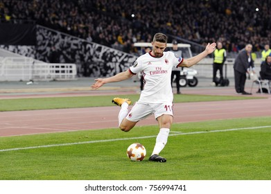 Athens, Greece - Nov. 11, 2017. Player of AC MILAN Fabio Borini  , in action during a soccer match between  AEK FC and AC MILAN at the OAKA Stadium of Athens.