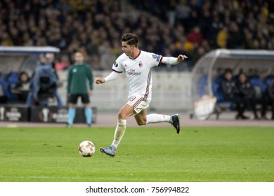 Athens, Greece - Nov. 11, 2017. Player of AC MILAN Andre Silva, in action during a soccer match between  AEK FC and AC MILAN at the OAKA Stadium of Athens.