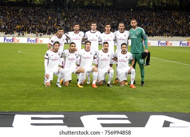 Athens, Greece - Nov. 11, 2017. Football team of AC MILAN before the match between  AEK FC and AC MILAN at the OAKA Stadium of Athens.
