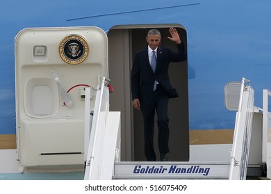 Athens, Greece, Nov 15, 2016:U.S. President Barack Obama arrives at the Athens International Airport. President Barack Obama arrived in Greece  on the first stop of his final foreign tour as president