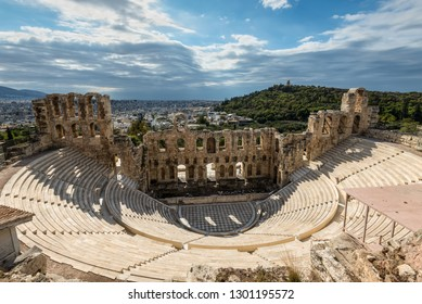 Athens, Greece - November 1, 2017: The Odeon of Herodes Atticus is a stone theatre structure located on the southwest slope of the Acropolis of Athens, Greece.