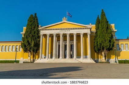Athens, Greece - November 1, 2020 - closeup view of the Zappeion Hall in the National Gardens of Athens