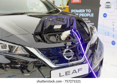 ATHENS, GREECE - NOVEMBER 14, 2017: Nissan Leaf charging at Aftokinisi-Fisikon 2017 Motor Show.