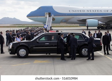 Athens, Greece, November 15, 2016: US Presidential State Car waits by Air Force One lands at the Athens International Airport Eleftherios Venizelos. President Barack Obama arrived in Greece