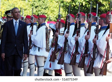 Athens, Greece, November 15, 2016: US President Barack Obama reviews the Presidential Guard in Athens. Obama visits Athens for talks with the country's political leadership.