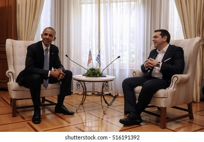 Athens, Greece, November 15, 2016: Greek Prime Minister Alexis Tsipras, right, speaks with U.S. President Barack Obama during their meeting at Maximos Mansion in Athens