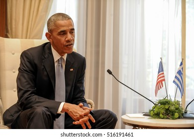 Athens, Greece, November 15, 2016: U.S. President Barack Obama during of meeting with the Greek Prime Minister Alexis Tsipras, with at Maximos Mansion in Athens