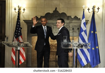 Athens, Greece, November 15, 2016: U.S. President Barack Obama, right, and Greek Prime Minister Alexis Tsipras hold a news conference after their meeting at Maximos Mansion in Athens