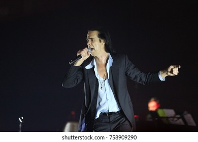 Athens, Greece - November 16, 2017: Nick Cave and the Bad Seeds band, performs at Faliro Sports Arena on Nov 16, 2017 in Athens, Greece.