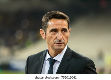 Athens, Greece - November 2, 2017: Coach of AEK Manuel Jimenez during the UEFA Europa League game between AEK FC vs AC Milan at OAKA Spiros Louis stadium