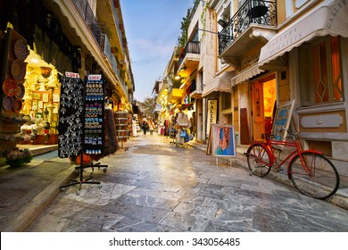 Athens, Greece - November 22, 2015: People in the main shopping street of the old town of Plaka in Athens