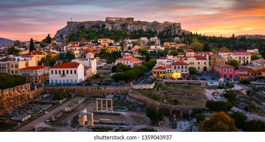 Athens, Greece - November 3, 2017: View of Acropolis from a roof top coctail bar at sunset, Greece.