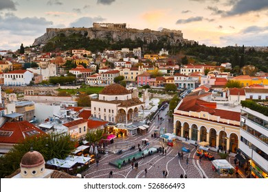 Athens, Greece - November 30, 2016:  View of Acropolis from a roof-top coffee shop in Monastiraki square, Athens.