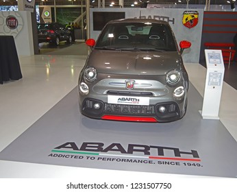 "ATHENS, GREECE, NOVEMBER 9, 2018. Abarth 595 Pista exhibited at Athens Motor Show ""AYTOKINHSH 2018"""