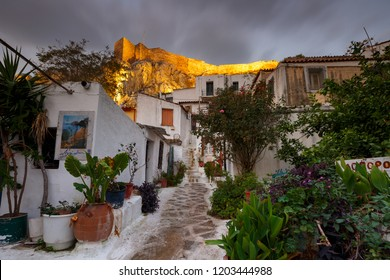 Athens, Greece - October 12, 2018: View of Acropolis from Anafiotika neighborhood in the old town of Athens, Greece.