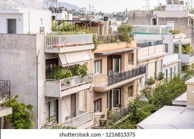 Athens, Greece - October 14, 2018: The exterior of apartment buildings in the Plaka neighborhood in central Athens. More than half a million people live in the city.