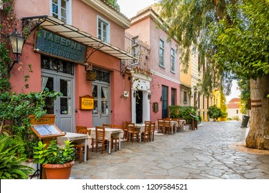 Athens, Greece - October 16, 2018 : Colorful street view in Plaka District of Athens.