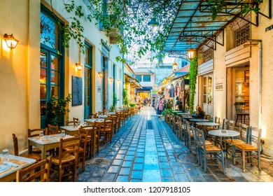 Athens, Greece - October 18, 2018 : Old street view in Plaka District of Athens.