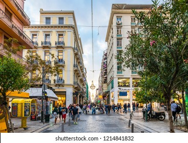 Athens, Greece - October 18, 2018 : People are shopping on Ermou Street in Athens.