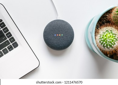 Athens, Greece - October 19 2018: Google home mini smart speaker with built in Google Assistant