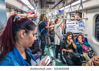 Athens, Greece - October 24, 2016: Passengers in subway train in Athens city