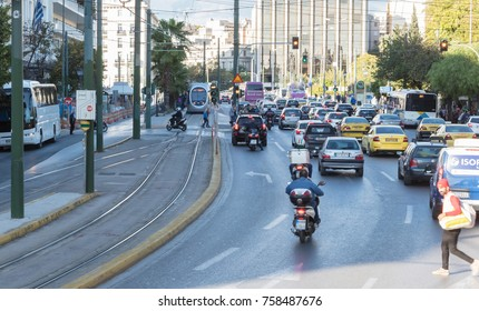 Athens, Greece - October 24, 2017: Traffic in the capital of Greece, Athens on October 24, 2017