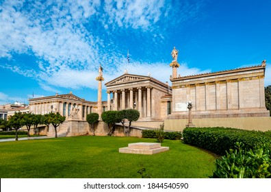 Athens / Greece - October 24 2020:  The Academy and the University of Athens, in Panepistimiou St., part of the architectural Athenian trilogy designed in 1859 by the Danish architect T. Hansen.