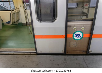 Athens, Greece - October 28 2017: empty metro train stopped at station. Attiko Metro Coach with logo & open doors without passengers on track at Eleftherios Venizelos International Airport Terminal.