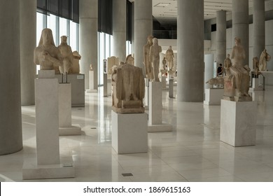 Athens, Greece - October 8, 2020 - inside the Acropolis Museum in Athens, Greece