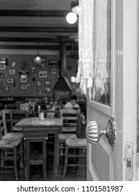 Athens Greece, an old traditional tavern interior view, blurred details
